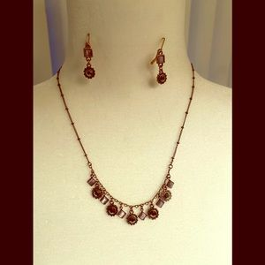 Lia Sophia Rose color necklace w/matching earrings